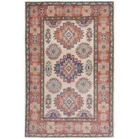 Handmade Herat Oriental Afghan Hand-knotted Kazak Vegetable Dye Wool Rug (2'7 x 4') - 2'7 x 4'