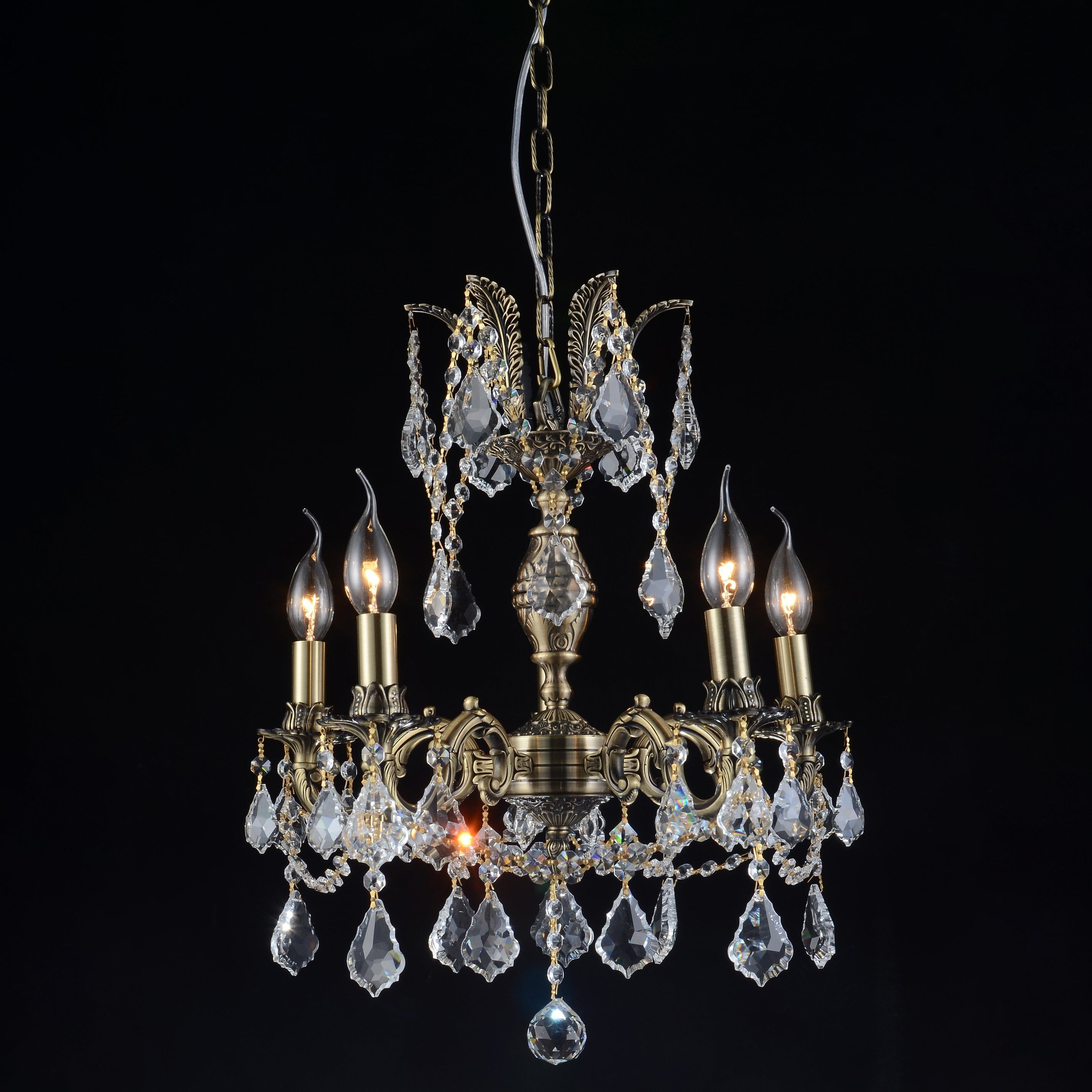 Shop Gracewood Hollow Zouankeu 5 Light Antique Brass Chandelier With Crystal Accents On Sale Overstock 22675610
