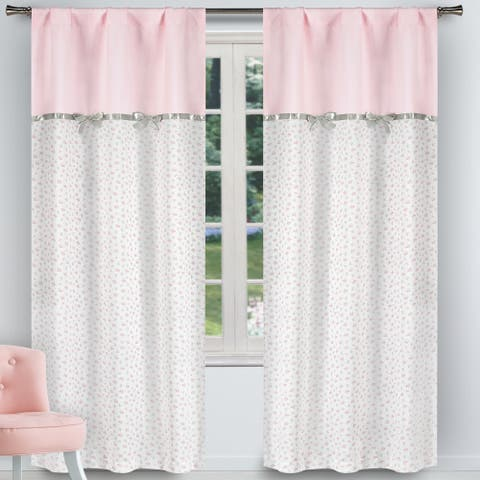 Bonnie Printed Pole Top Window Curtain Panel Pair Set Of Two - 37x84""