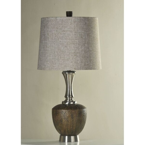 Shop Stylecraft Hammered Metal Table Lamp With Shade Free Shipping
