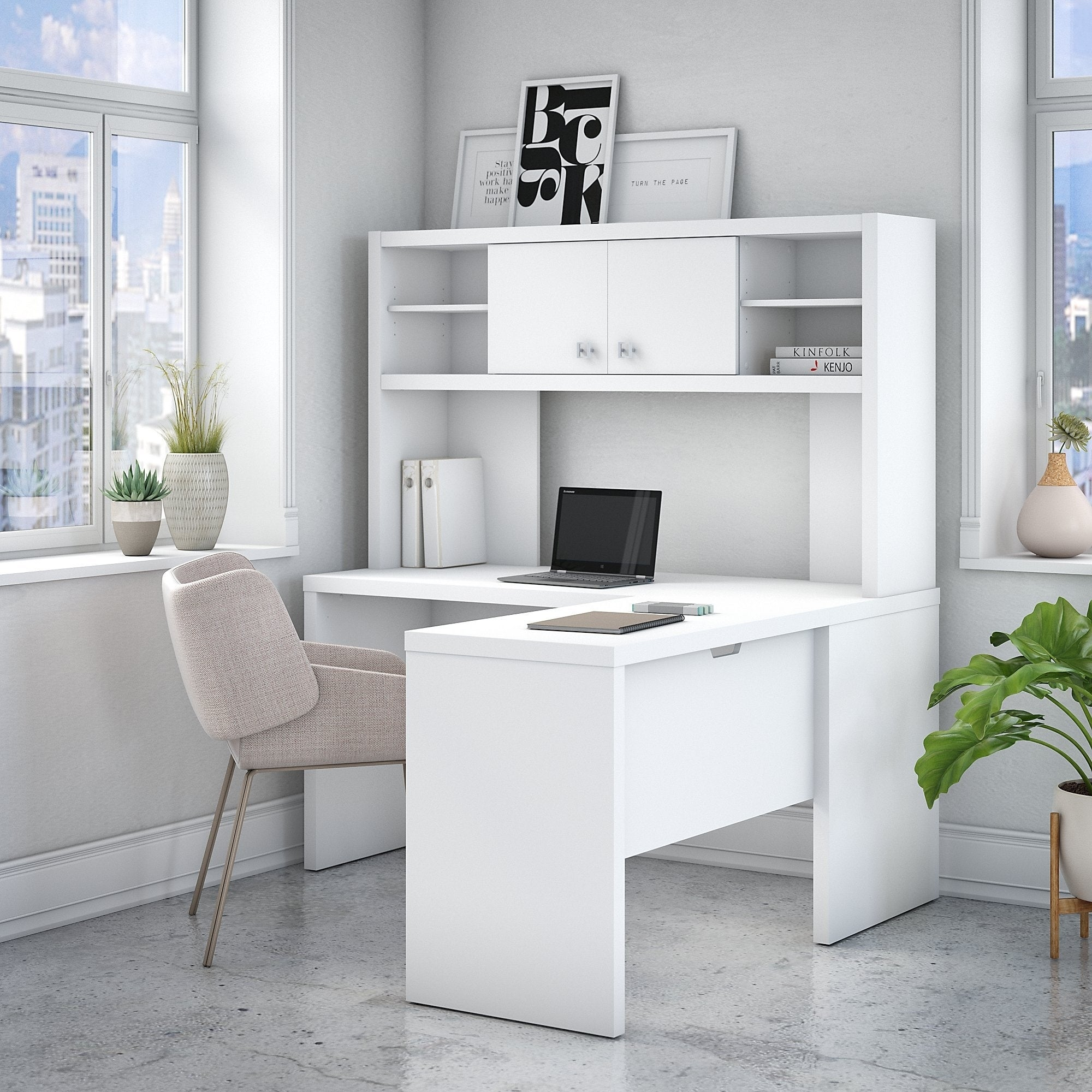 Delicieux Office By Kathy Ireland® Echo L Shaped Desk With Hutch In Pure White