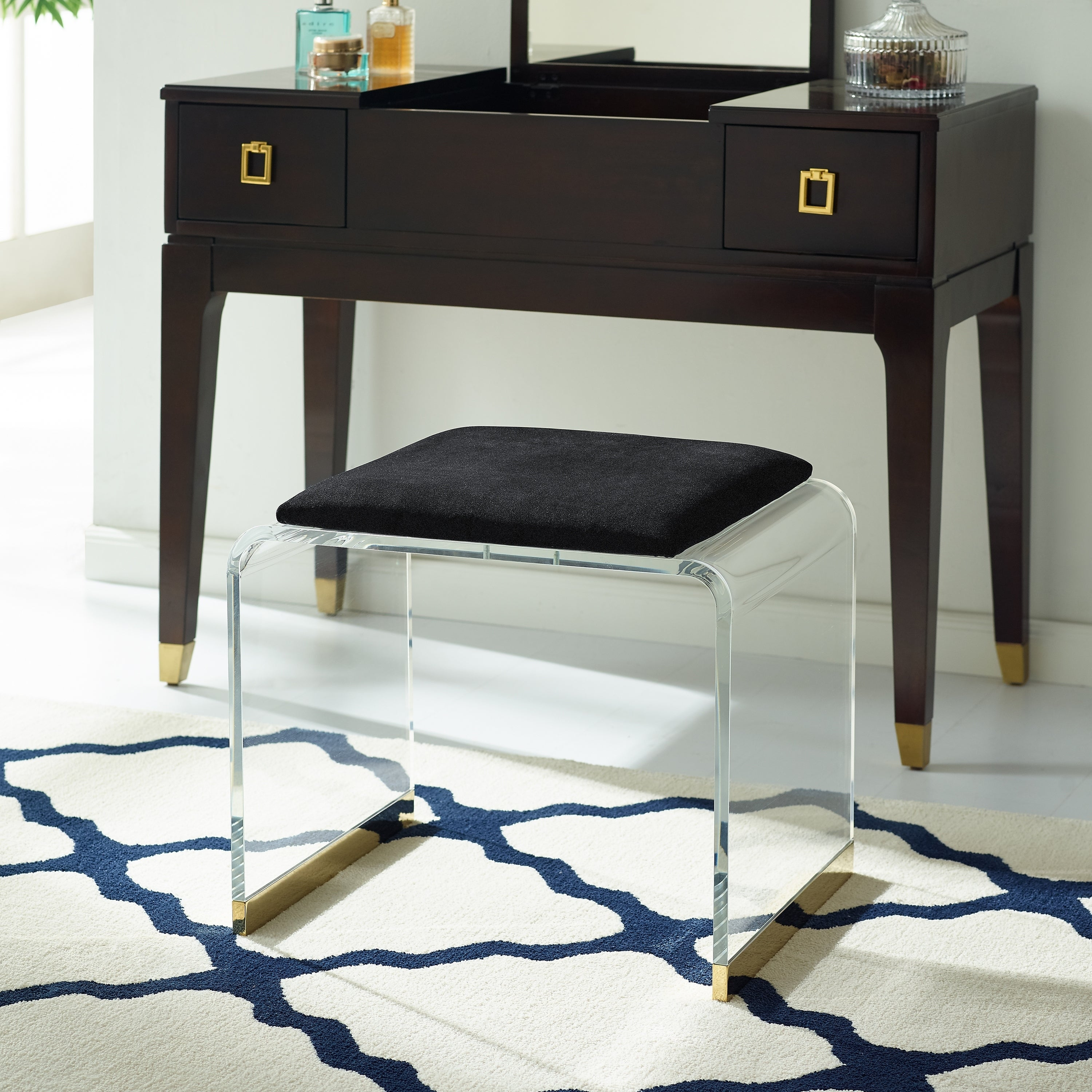 Surprising Mableton Upholstered Acrylic Vanity Stool Pabps2019 Chair Design Images Pabps2019Com