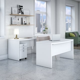 Office by kathy ireland® Echo Bow Front Desk Office Suite in White
