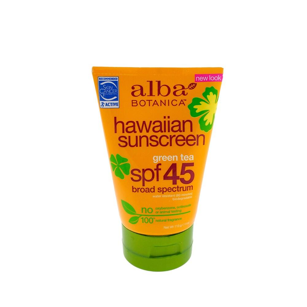 Alba Natural Hawaiian 4-ounce Sunscreen Revitalizing Green Tea SPF 45