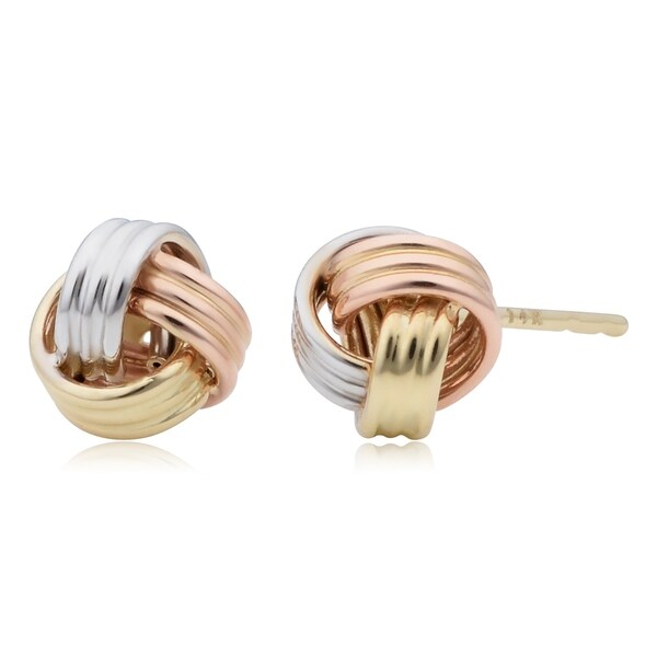 562c00f9e6bf7 Shop 14k Tricolor Gold Love Knot Stud Earrings - On Sale - Free ...