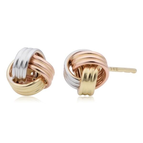 14k Tricolor Gold Love Knot Stud Earrings