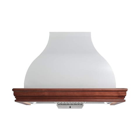 """Winflo 36"""" 900 CFM Ducted Solid Wood Framed Range Hood (Cherry) and Liner (Off White) combined Wall mount Range Hood"""