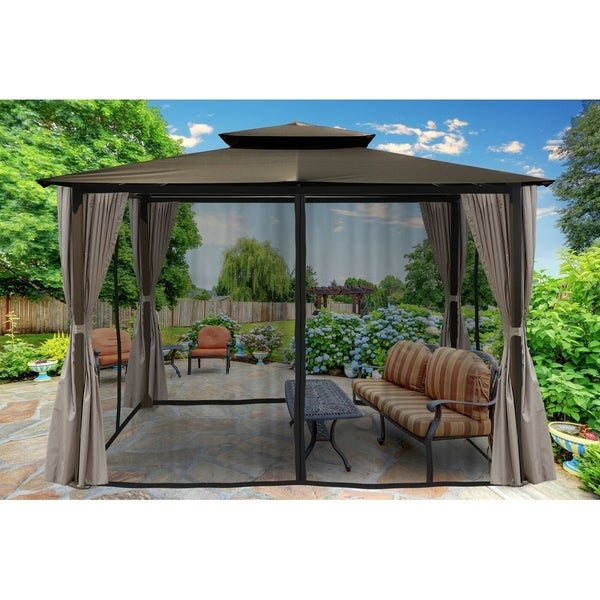Home Garden Pergolas Outdoor Pergola White Aluminum Canopy Retractable Large 10x12 Gazebo Blue Shade Stbalia Ac Id