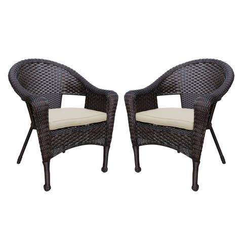 Set of 2 Resin Wicker Clark Single Chair with Tan Cushion