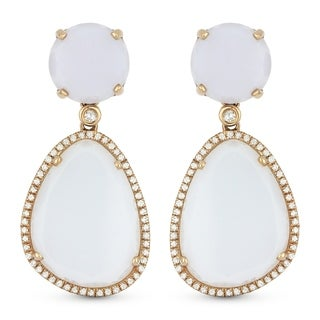 14K Rose Gold Dangling Earrings with White Diamonds; Free-Form Blue Chalcedony with Post Clasp