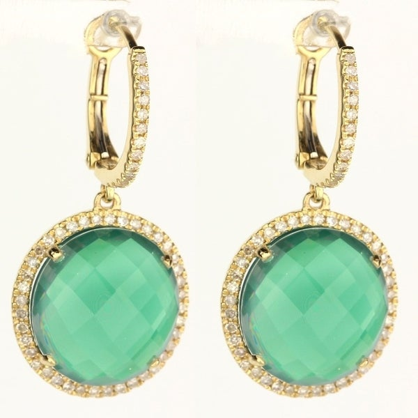 f41ea98747d21 14K Yellow Gold Dangling Earrings with White Diamonds; Round Green Agate  with Leverback Clasp