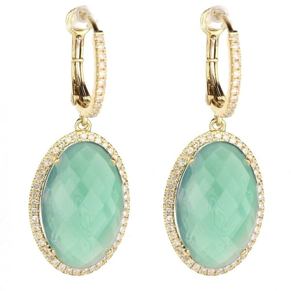 6fd002055a95a 14K Yellow Gold Dangling Earrings with White Diamonds; Oval Green Agate  with Leverback Clasp