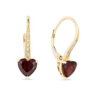 ICED SHOWROOM 14K Yellow Gold Heart Garnet with White Diamond Cuff Earrings