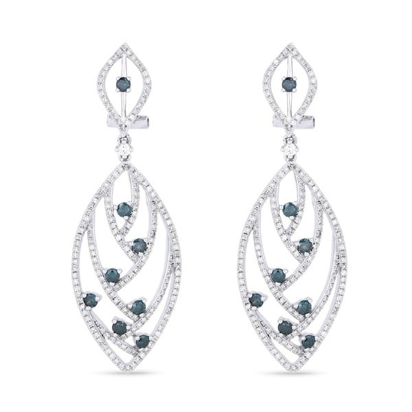 14k White Gold Earrings Round Blue Diamond Dangling With Omega Clasp