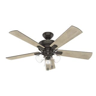 Buy bronze finish ceiling fans online at overstock our best hunter fan 52 crestfield noble bronze w 5 gry pine gry wlnt rev aloadofball Image collections