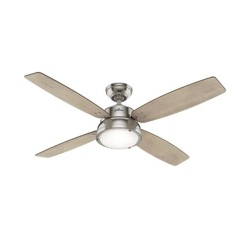 "Hunter 52"" Wingate Ceiling Fan with LED Light Kit and Handheld Remote - Brushed Nickel"