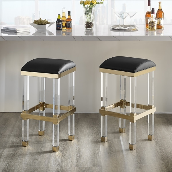 Shop Silver Orchid Breese Upholstered Acrylic Barstool On Sale