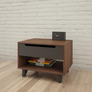 Nexera Alibi 1 Drawer Nightstand, Walnut and Charcoal