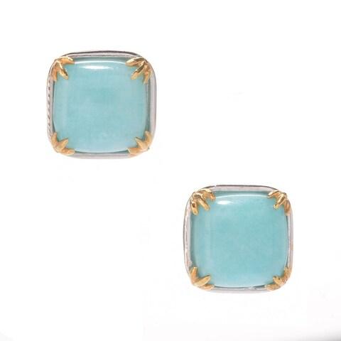 Michael Valitutti Palladium Silver Cushion Amazonite Earrings