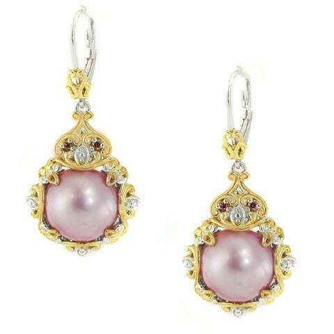 Michael Valitutti Palladium Silver Mabe Pink Pearl & Diamond Earrings