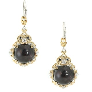 Michael Valitutti Palladium Silver Mabe Black Pearl & Diamond Earrings