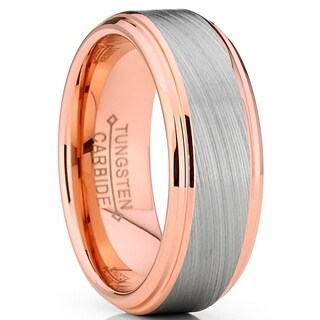 Oliveti RoseGold Tungsten Carbide Vortex Brushed Wedding Band Ring Comfort Fit 8mm