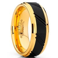 Oliveti Duo Tungsten Carbide Wedding Band Black and Gold Plated Ring Comfort Fit 8mm