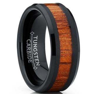 Shop Oliveti Black Ceramic Ring Wedding Band With Real Koa