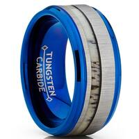 Oliveti Tungsten Carbide Blue Wedding Band Ring Real Deer Antler Inlay Comfort Fit 9mm