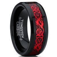 Oliveti Black Tungsten Carbide Red Dragon Ring Wedding Band Black Carbon Fiber Comfort Fit