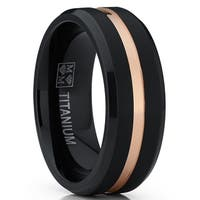 Oliveti Duo Black and RoseGold Titanium Wedding Band Engagement Ring Comfort Fit 8mm