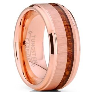 Oliveti Tungsten Carbide RoseGold Wedding Band Ring Real Koa Wood Comfort Fit