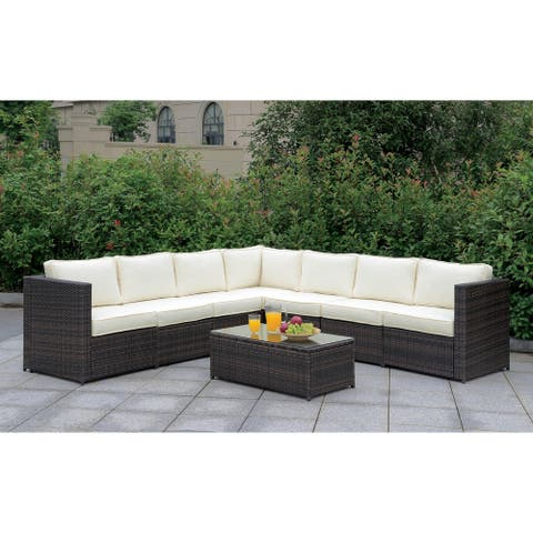 Furniture of America Nene Contemporary Brown Patio Sectional Set