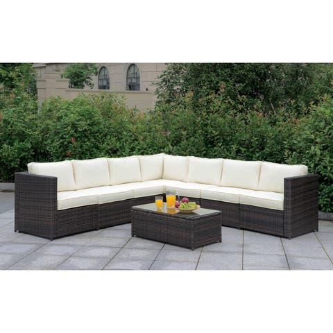 Furniture of America Villa III All Weather Wicker Patio Sectional Set