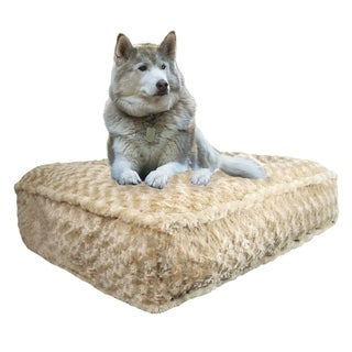 Bessie & Barnie Camel Rose Ultra Plush Faux Fur Luxury Durable Sicilian Rectangle Pet/Dog Bed