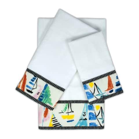 Sherry Kline Sailboat White 3-piece Embellished Towel Set