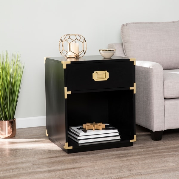 Campaign Tall Storage Side Table w/ Drawer