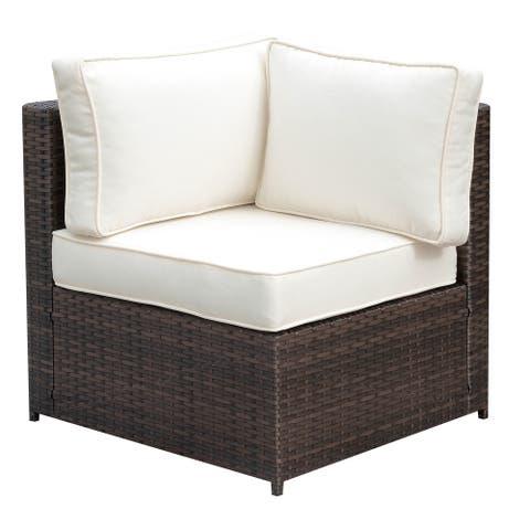 Furniture of America Fene Contemporary Brown Wicker Corner Chair
