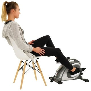 Sunny Health & Fitness Motorized Mini Exercise Bike with 90 RPMs - Electric Surface Cycle 90 - Silver