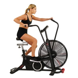 Sunny Health & Fitness Exercise Fan Bike with Bluetooth - Tornado LX Air Bike - Black