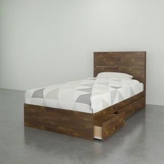 Nexera Nocce Storage Bed with Headboard, Truffle