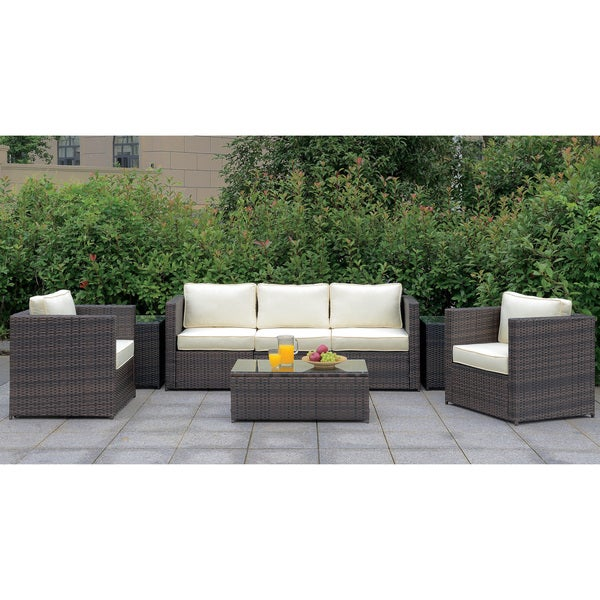 Shop Furniture of America Wiba Contemporary Brown Patio ... on Safavieh Outdoor Living Granton 5 Pc Living Set id=31167
