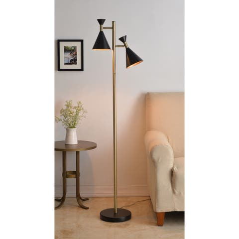 Carson Carrington Angelholm Black and Antique Brass Adjustable 2-light Floor Lamp