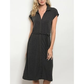JED Women's Knee Length Collared Charcoal Knit Dress