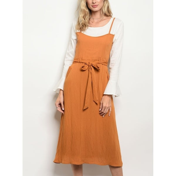 5053c48b84f Shop JED Women s Long Sleeve Layered Midi Slip Dress - On Sale - Free  Shipping On Orders Over  45 - Overstock - 22676728