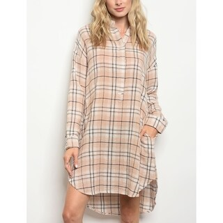 JED Women's Cotton Plaid Long Sleeve Tunic Shirt Dress