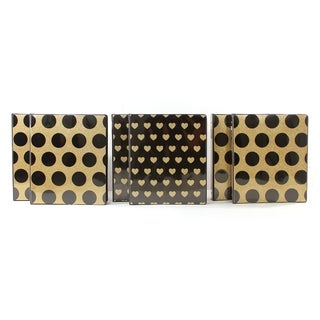 "Studio C Date Night 6pc 1"" Vinyl 3-Ring Binder Set with Gold Glitter"