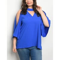 JED Women's Plus Size Cold Shoulder Choker Blouse