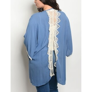 JED Women's Plus Size Crocheted Cardigan Tunic Top