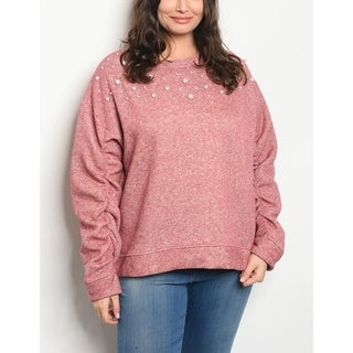 JED Women's Plus Size Sweatshirt with Pearl Appliques